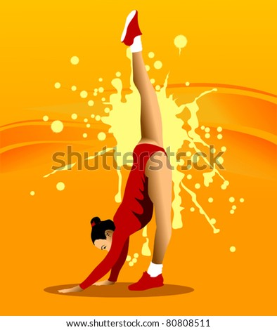 The gymnast performs a difficult exercise (vector illustration);