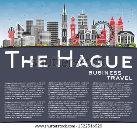 The Hague Netherlands City Skyline with Color Buildings, Blue Sky and Copy Space. Business Travel and Tourism Concept with Historic Architecture. Hague Cityscape with Landmarks.