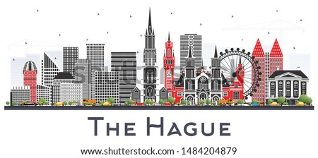 The Hague Netherlands City Skyline with Color Buildings Isolated on White. Business Travel and Tourism Concept with Historic Architecture. Hague Cityscape with Landmarks.