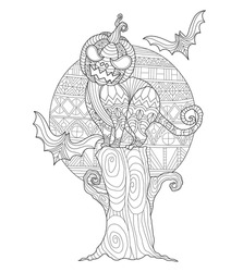 The Halloween cat Pumpkin Head. Hand drawn sketch illustration for adult coloring book. Zentangle stylized cartoon isolated on white background.