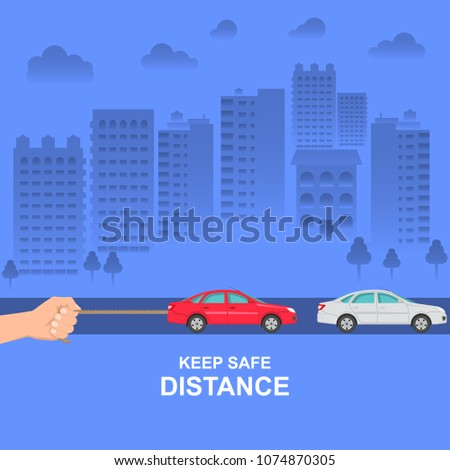 The hand constraining car speed symbolizes increase in distance between vehicles, reduction of speed. The concept of safety and fail-safety on roads, observance of traffic regulations. Vector