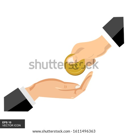 The hand gives coins of money to other hands. Give and take money