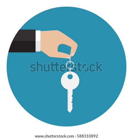 The hand holding a key. Vector illustration. Flat design