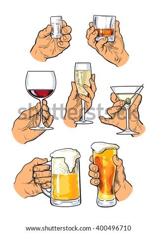 the hand holds a glass with