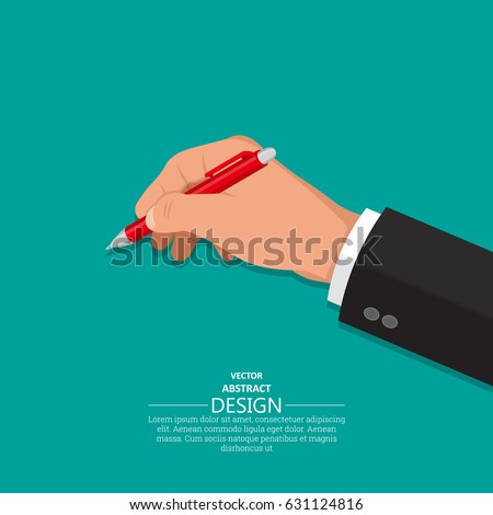 The hand holds a pen. A hand with an office subject in 3D style on the isolated green background. Vector illustration. Design element.
