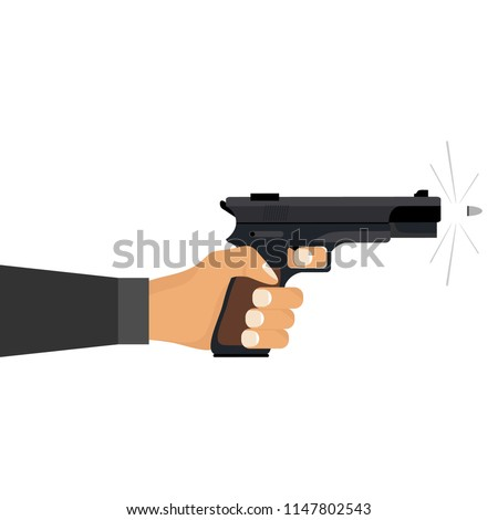 The hand holds the gun. The hand shoots the pistol with bullets. Flat design, vector illustration, vector.