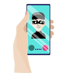 The hand holds the phone on which the fraudster calls. A phone thief tries to trick you into finding out your credit card passwords. Watch out  robber! Vector illustration in a flat style.