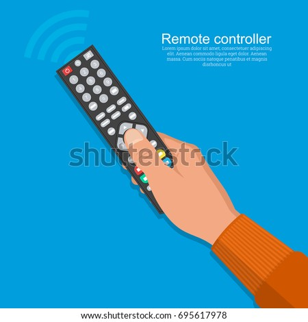 The hand of the man operates the remote control.Flat design on the isolated background.Vector illustration.