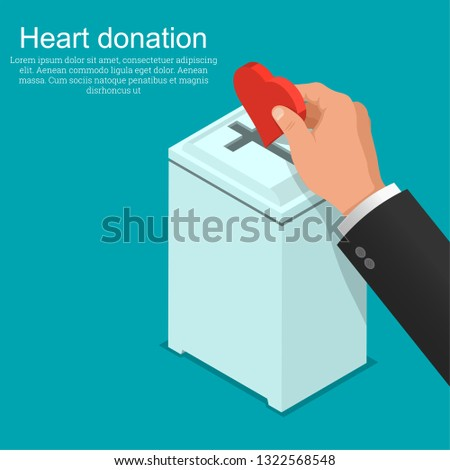 The hand of the parishioner puts heart in a box for donation. Concept of love for God. Fidelity and service to Christianity.3D. Isometry. A vector illustration in flat style.