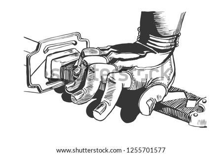 the hand on the samurai sword