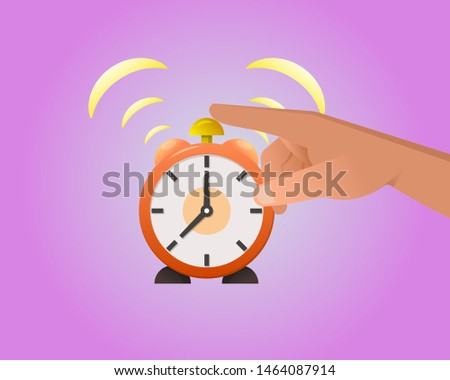 The hand presses the alarm clock button. Operating time. Business concept.The beginning of the working day.Elements for design.Vector illustration in modern flat style.