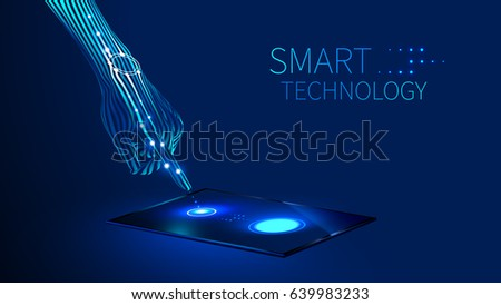 the hand presses the finger on the touch screen on the tablet or smart phone, which is on the table. Smart watch on hand. Future smart technology abstract concept.