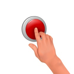 The hand presses the red button.The concept of danger, anxiety, attention.  3D.Vector realistic illustration.