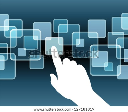 The hand pushing one of several button. Choice concept. Vector illustration. File is saved in AI10 EPS version. This illustration contains a transparency