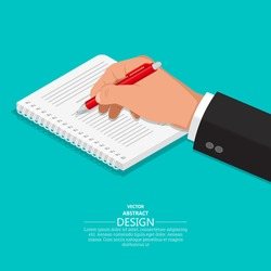 The hand with a pen writes on a notebook.3D style. A vector illustration in an isometry.Flat design. Business concept.Design elements.