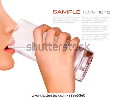 the hand with glass of water