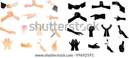 The hands of a variety of shape vector. - stock vector