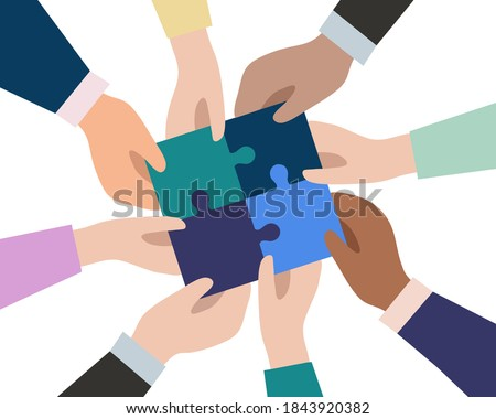 The hands of businessmen connect the pieces of puzzles into a single whole. The concept of successful business team work. Partnership and cooperation. Vector flat design. Foto d'archivio ©