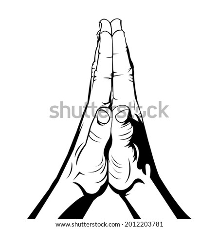 The hands of people who are praying. The hand of the person who is apologizing. Hands of people who are grateful. Man hands. Human hands. Body part. Outline. Feeling grateful. Sign of gratitude. Foto stock ©