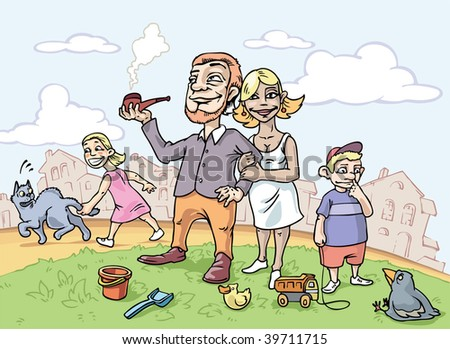 The happy family is walking on the green lawn in front of townhouses. Editable vector EPS v.9.