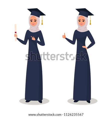 The happy graduate Arab girl student of the College or University gesturing with fingers and showing up. Islamic graduate woman in mantle holding a diploma in her hand. vector illustration isolated