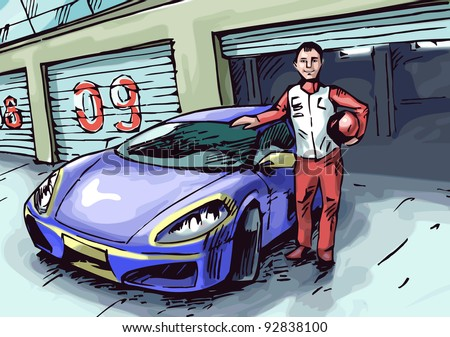 The happy racer is standing near his blue sport car. He keeps a helmet in his hand.