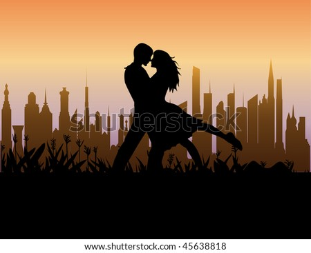 The happy young couple on the background of the city. Vector.