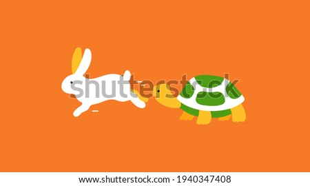 The Hare and the Tortoise vector illustration orange Stock photo ©