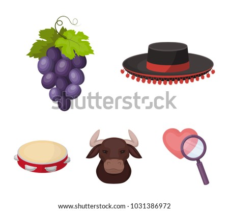 The hat of the todeador, the matador, a bunch of grapes with fists, a bull for the Spanish bullfight, a tambourine. Spain country set collection icons in cartoon style vector symbol stock illustration