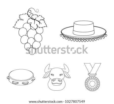bullfighter set icons download free vector art stock graphics Blank Outline Map of Spain and Bordering Countries the hat of the toreador the matador a bunch of grapes a bull