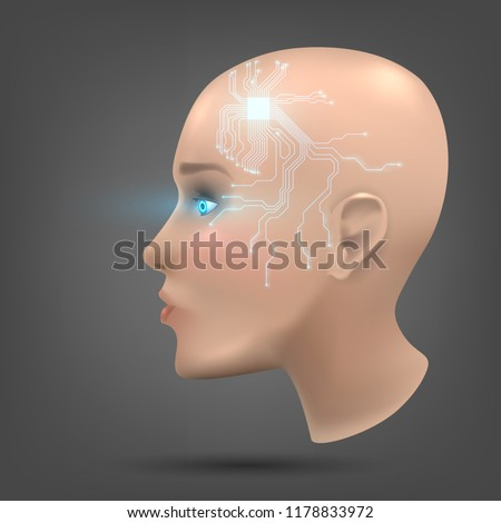 The head of a cyborg or an anthropoid robot. Concept: humanoid robots, artificial intelligence, science fiction