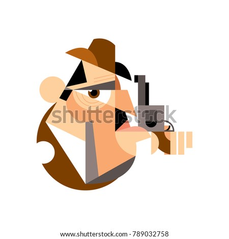 The head of a man in a brown hat and with a gun