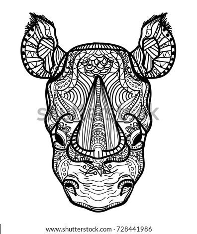 the head of a rhinoceros meditation coloring of the mandala