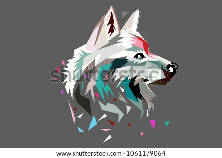 the head of a wolf polygon