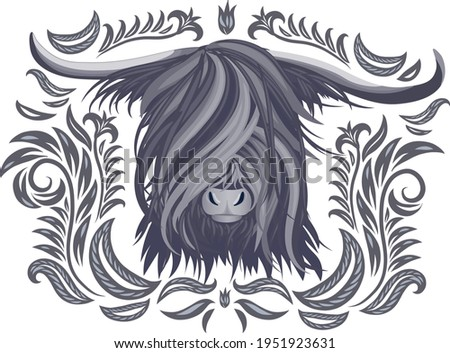 The head of a yak in grey shades with an ornament. Logo, T-shirt design, tattoo, logo, decoration. Stok fotoğraf ©
