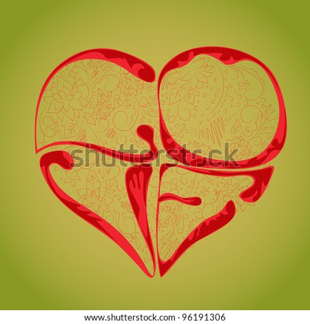 The heart in the form of the word love with a floral pattern..  Vector.