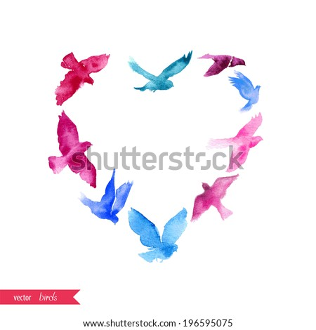The heart of the watercolor birds. Can be used for postcard, valentine card, wedding invitation