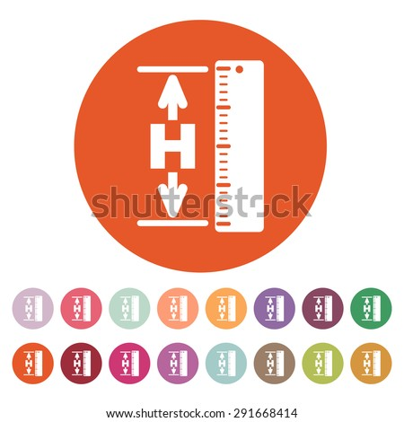 The height icon. Altitude, elevation, level, hgt symbol. Flat Vector illustration. Button Set