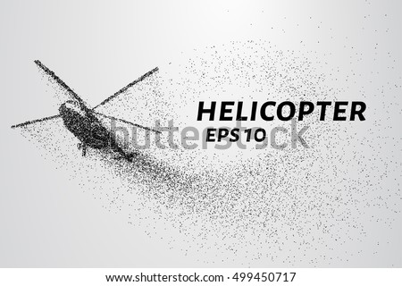 The helicopter of the particles. The helicopter is on the rise and the wind rips off his smaller parts. Vector illustration