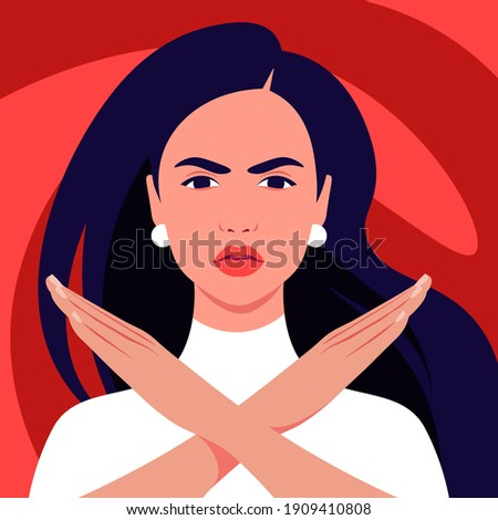 The Hispanic woman feels anger and she crossed her arms. A gesture of refusal and prohibition. Campaign against violence and human rights violations. Vector flat illustrations Photo stock ©