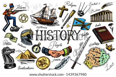 The history of people, science and education, religion and travel, discoveries and old ancient symbols. Retro ship, chess and handshake, warrior and satellite. Hand drawn engraved vintage sketch.
