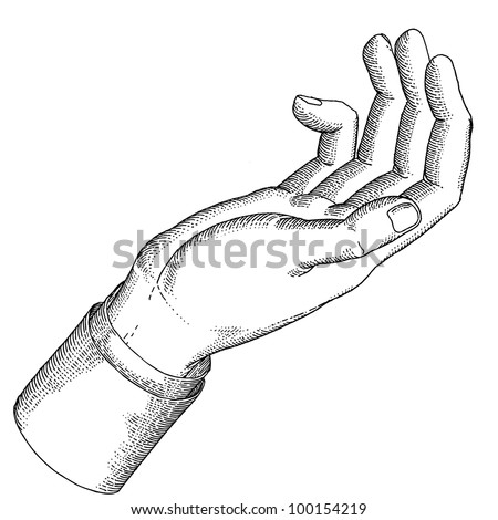 The holding hand with open palm gesture - stock vector