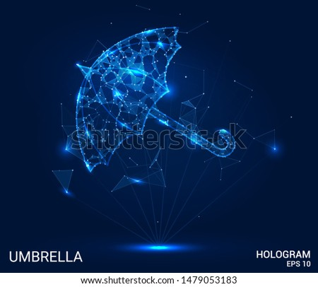 The hologram umbrella. Umbrella of polygons, triangles of points and lines. Umbrella is a low poly connection structure. Technology concept.