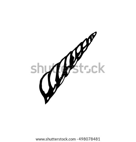 The horn of a unicorn, a graphical image on a white background. Vector illustration