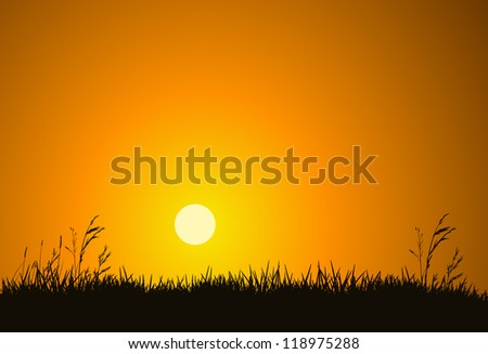 the hot glowing sun sets behind
