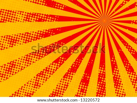 The hot halftone summer sun - vector, illustration