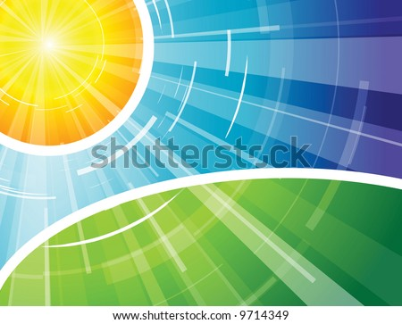 The hot summer sun with blue sky and green ground