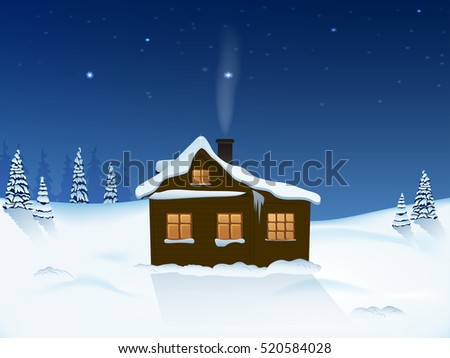 the house in the winter forest