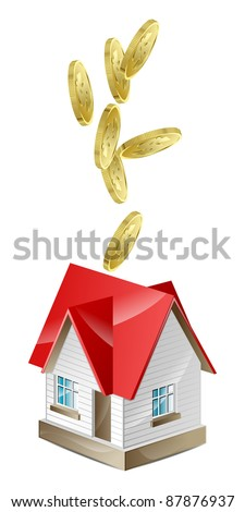 The house with a red roof and money
