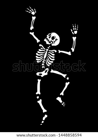 The human skeleton is dancing. Pose of a dancing skeleton. illustration for halloween. Black background. Great for greeting cards, invitations, for printing on T-shirts and more.
